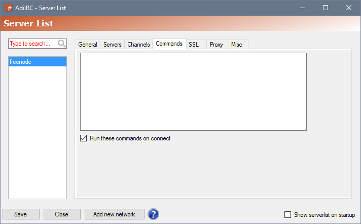Serverlist Commands - AdiIRC - AdiIRC Support/Bugs/Feature